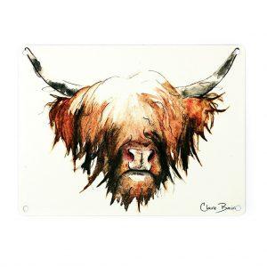 Highland Cow Mini Metal Sign