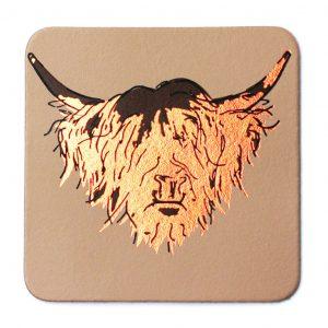 Highland cow coaster