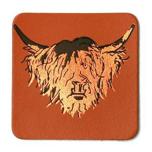 Leather Highland cow coaster