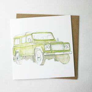 green landrover card