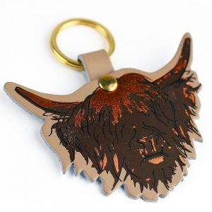 Highland Cow Leather Keyring Nude