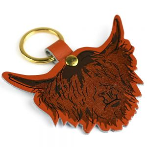 Leather Highland Cow Keyring Tan