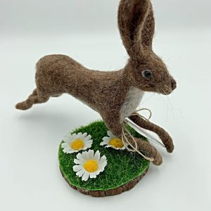 Felt Leaping Hare in Daisies
