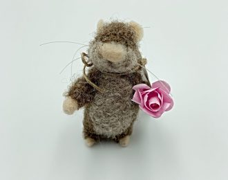 Brown Felt Mouse With Flower