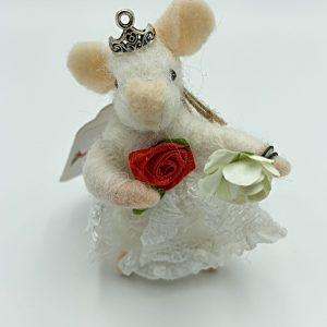 Little White Felt Princess Mouse