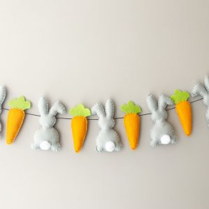 Grey Bunny and Carrot Garland