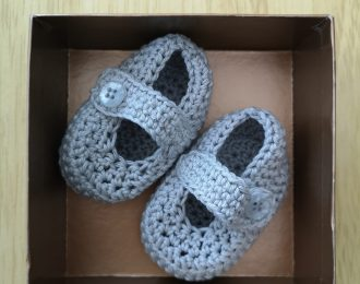 Grey Crochet Baby Shoes