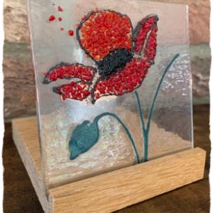 poppy glass tea light holder