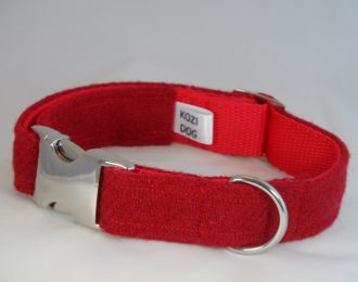 Bright Red Harris Tweed Dog Collar