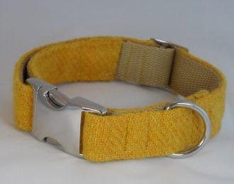 Yellow Harris Tweed Dog Collar