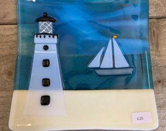 Large Lighthouse Glass Dish