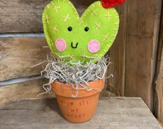Small Felt Cactus in Plant Pot
