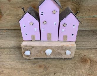 Pink Houses on Driftwood