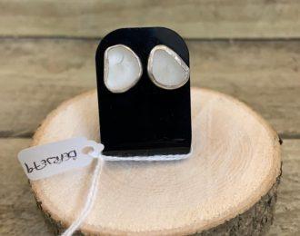 White Sea Glass Stud Earrings