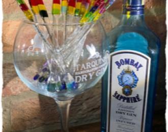 """2 """"Rainbow"""" Glass Drink Stirrers"""