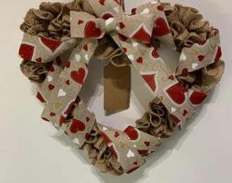 Hessian Heart Wreath (Heart Ribbon)